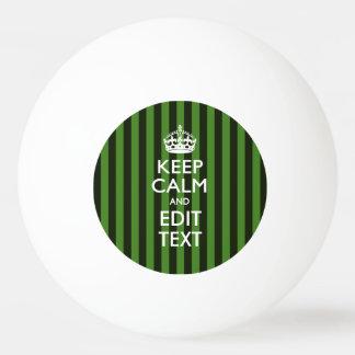 名前入り平静を緑のストライプのあなたの文字保って下さい 卓球ボール
