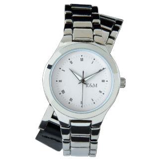 名前入り彼のおよび彼女のイニシャル 腕時計