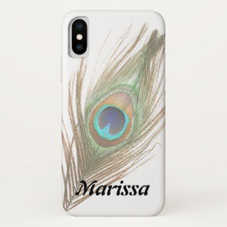 名前入り背景の孔雀の羽を選んで下さい iPhone X ケース