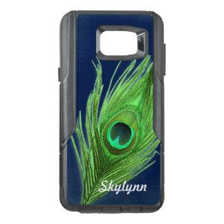 名前入り背景の緑の孔雀Feathを選んで下さい オッターボックスSamsung Note 5ケース