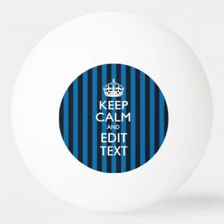 名前入り青い縞の装飾の平静を保って下さい ピンポン球