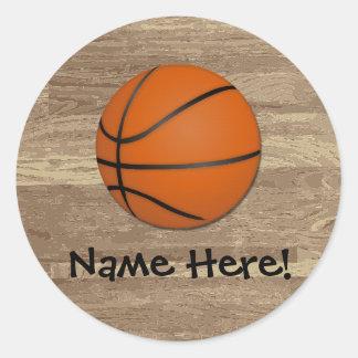 名前入り|バスケットボール|木|床 丸形シールステッカー
