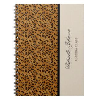 名前入り: ヒョウのプリントのノート ノートブック