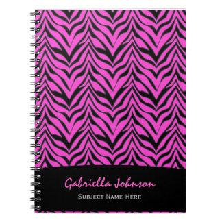 名前入り: ピンクのシマウマのプリントのノート ノートブック