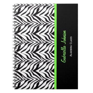名前入り: 整う緑: シマウマのプリントのノート ノートブック