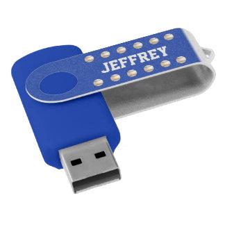 名前入り、白い名前の野球の青 USBフラッシュドライブ