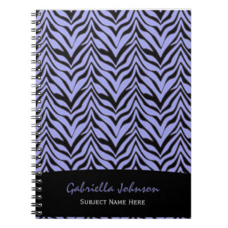 名前入り: 紫色のシマウマのプリントのノート ノートブック