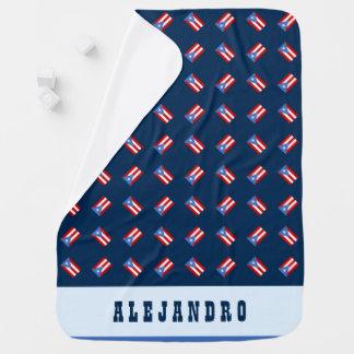 名前入り: 青: プエルトリコの旗 ベビー ブランケット