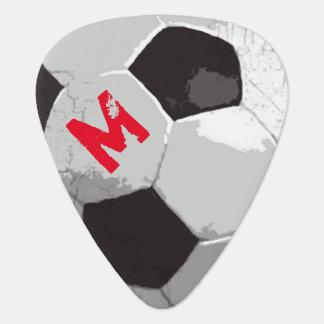 名前及びイニシャルのカッコいいが付いているサッカーボール ギターピック