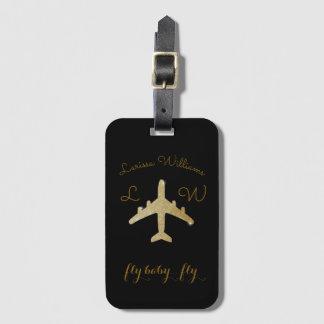 名前及びイニシャルの金旅行が付いている飛行機 ラゲッジタグ
