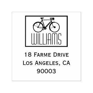 名前及び差出人住所の正方形が付いているバイク セルフインキングスタンプ