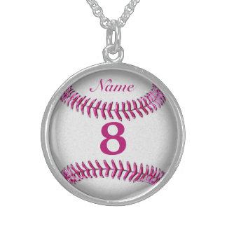 名前及び数を用いる純銀製の野球のネックレス スターリングシルバーネックレス