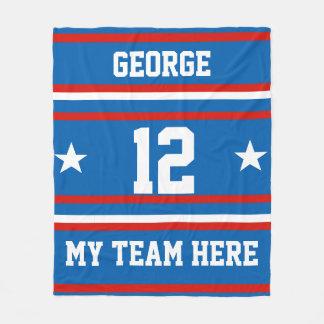 名前、#、チーム、スポーツ・ファンのチームと名前入り フリースブランケット
