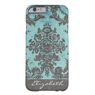 名前-ティール(緑がかった色)の灰色のヴィンテージのダマスク織パターン BARELY THERE iPhone 6 ケース