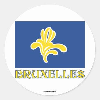 名前(フランス語)のブリュッセルの旗の地域 ラウンドシール