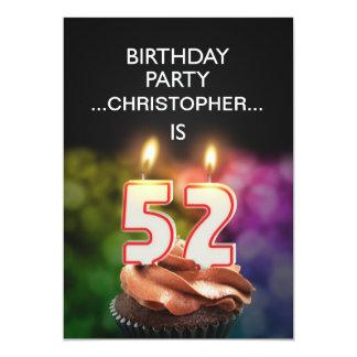 名前、第52誕生日のパーティの招待状を加えて下さい カード