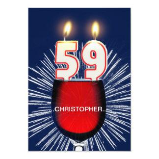 名前、第59誕生日のパーティの招待状、ワインを加えて下さい カード