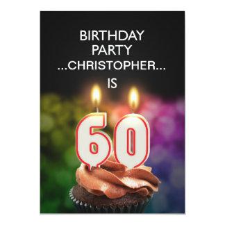 名前、第60誕生日のパーティの招待状を加えて下さい 12.7 X 17.8 インビテーションカード