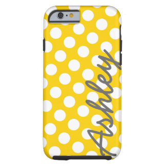 名前-黄色い灰色の粋な水玉模様パターン ケース