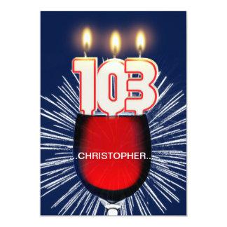 名前、103rd誕生日のパーティの招待状、ワインを加えて下さい カード