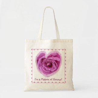 名誉のバッグ-レースとのピンクのバラのハートの婦人 トートバッグ