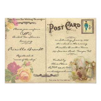 名誉を与える花嫁の茶シャワーは古い郵便はがきのスタイルを作ります カード
