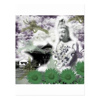向日葵と観音菩薩と姫坂神社 ポストカード