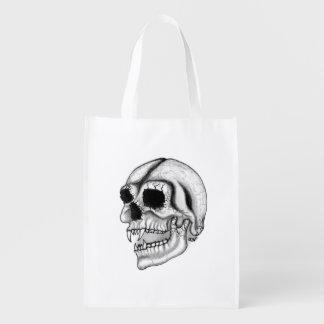 吸血鬼のスカルの白黒デザイン エコバッグ