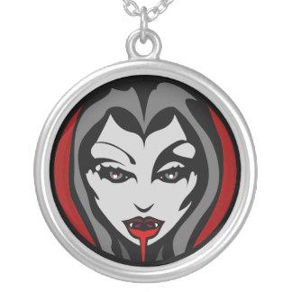 吸血鬼のネックレスのハロウィンの吸血鬼の女の子のネックレス シルバープレートネックレス