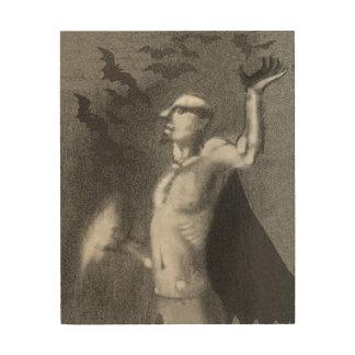 吸血鬼のハロウィンの芸術 ウッドウォールアート