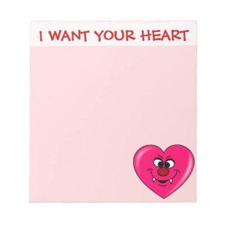 吸血鬼のバレンタイン: 私にあなたのハートを与えて下さい ノートパッド