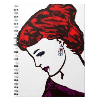 吸血鬼の女の子のゴシックのポップアート ノートブック