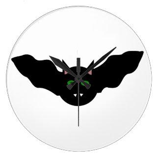 吸血鬼の猫によって直面されるこうもりのハロウィンの柱時計 ラージ壁時計