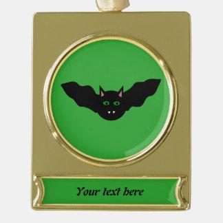 吸血鬼の猫によって直面されるこうもりハロウィンCustomOrnament ゴールドプレートバナーオーナメント