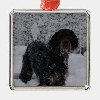 吹雪のオーナメントのゴードンセッターの子犬 メタルオーナメント