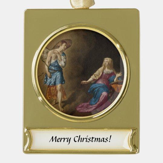 告知の天使およびメリー ゴールドプレートバナーオーナメント