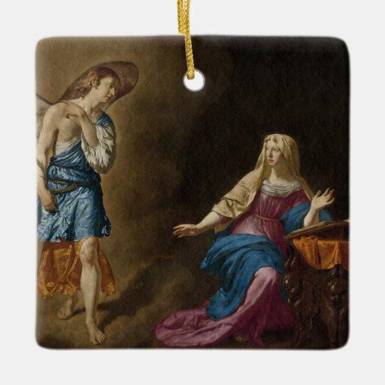 告知の天使およびメリー セラミックオーナメント