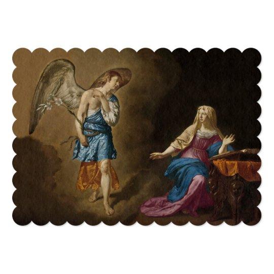 告知の天使およびメリー 12.7 X 17.8 インビテーションカード