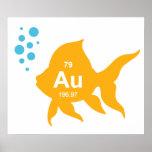 周期表の元素金ゴールドの魚 ポスター