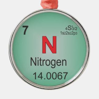 周期表の窒素の個々の要素 メタルオーナメント