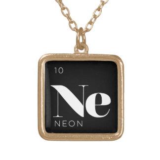 周期表の要素のネックレスの//のネオン ゴールドプレートネックレス
