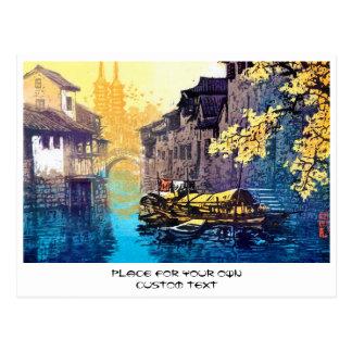 周Xing華蘇州の景色の川の日没の絵画 ポストカード