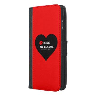 味のVapeの私の赤く黒いハートに接吻して下さい iPhone 6/6s Plus ウォレットケース