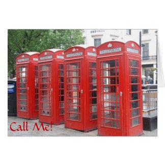 """""""呼出しを用いるロンドンの公衆電話ボックスの挨拶状私"""" グリーティングカード"""