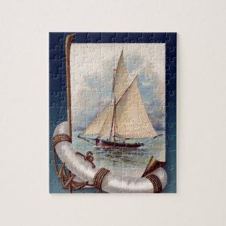 命の恩人、ロープおよびいかりが付いているヴィンテージの帆ボート ジグソーパズル