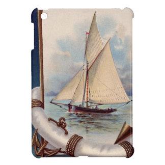 命の恩人、ロープおよびいかりが付いているヴィンテージの帆ボート iPad MINI カバー