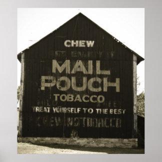 咀嚼郵便袋のタバコの納屋のアンチック仕上 ポスター