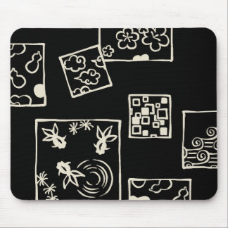【和柄四角枠(牡蠣色)】Japanese pattern in Square(white) マウスパッド