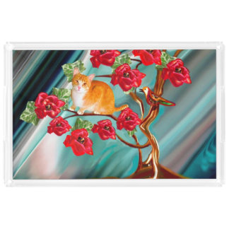 咲く友情の木の隣人のトレイ アクリルトレー