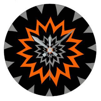 咲く広がり:  黒およびオレンジ ラージ壁時計